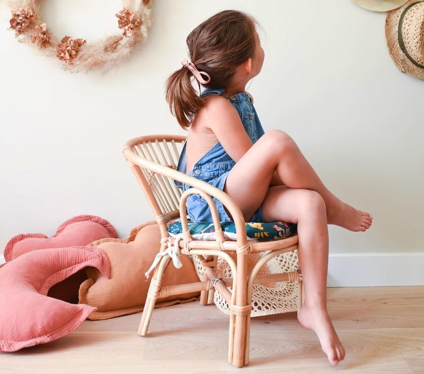 Chaises en rotin naturel pour enfants, mobilier tendance